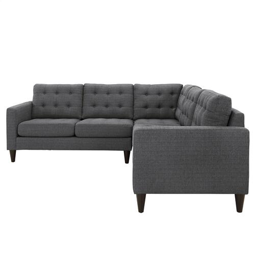 Modway - Empress 3 Piece Upholstered Fabric Sectional Sofa Set in Gray