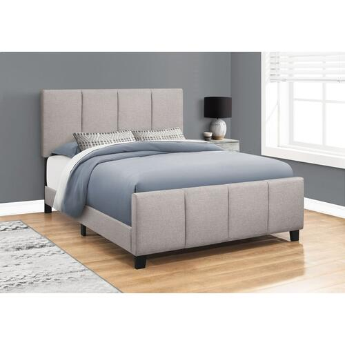 BED - QUEEN SIZE / GREY LINEN WITH BLACK WOOD LEGS