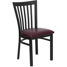 Black School House Back Metal Restaurant Chair with Burgundy Vinyl Seat