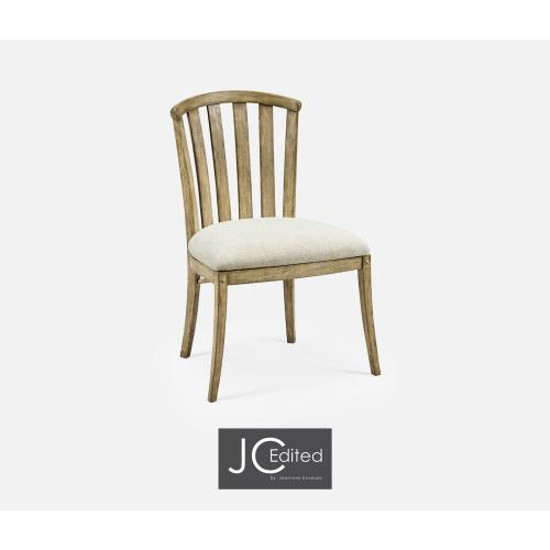 Light Driftwood Curved Back Side Chair, Upholstered in Shambala