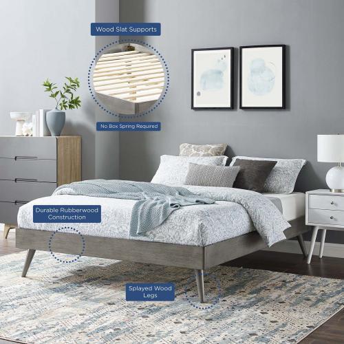 Margo Queen Wood Platform Bed Frame in Gray