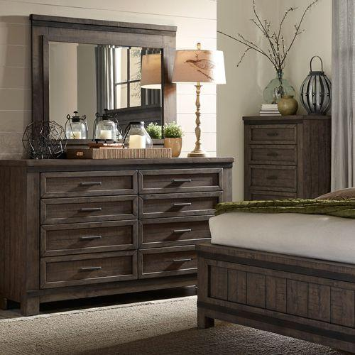 Liberty Furniture Industries - King Two Sided Storage Bed, Dresser & Mirror