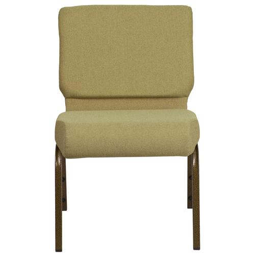HERCULES Series 21''W Stacking Church Chair in Moss Green Fabric - Gold Vein Frame