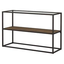 Anthropology Glass Top Console Table - Rustic Brown
