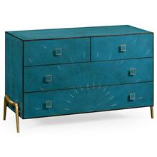 Teal faux shagreen and brass legged chest