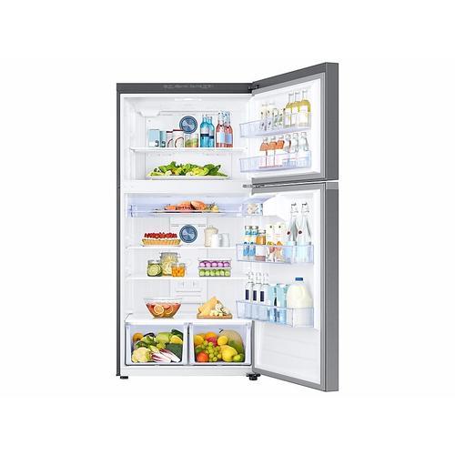 Samsung - 21 cu. ft. Top Freezer Refrigerator with FlexZone™ in Stainless Steel