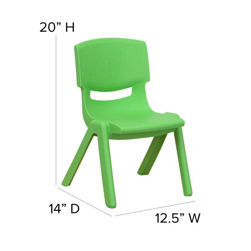 Gallery - 4 Pack Green Plastic Stackable School Chair with 10.5'' Seat Height [4-YU-YCX-003-GREEN-GG]