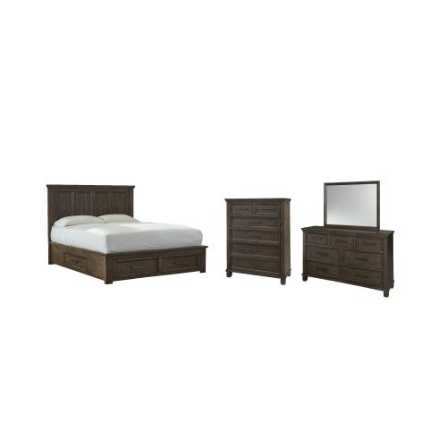 Gallery - Queen Panel Bed With 4 Storage Drawers With Mirrored Dresser and Chest