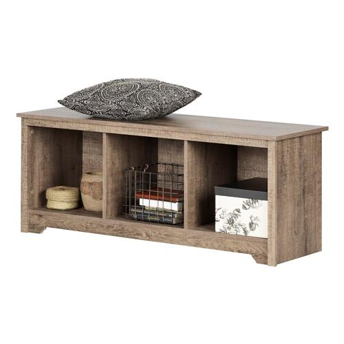 Vito - Cubby Storage Bench, Weathered Oak