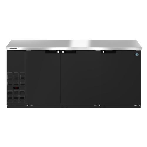 HBB-3-80, Refrigerator, Three Section, Black Vinyl Back Bar Back Bar, Solid Doors