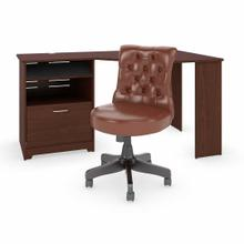 See Details - 60W Corner Desk with Mid Back Tufted Office Chair, Harvest Cherry