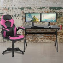 See Details - Black Gaming Desk and Pink\/Black Racing Chair Set with Cup Holder, Headphone Hook & 2 Wire Management Holes