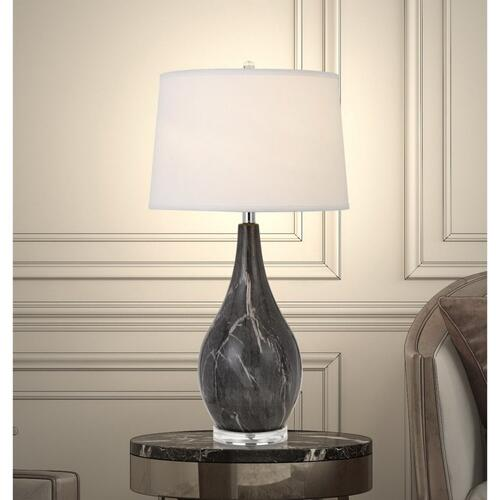 150W 3 Way Emden Ceramic Table Lamp With Taper Drum Linen Hardback Shade
