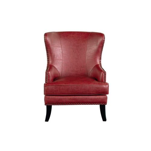Porter International Designs - Grant Red Leather-Look Accent Chair, ACL564