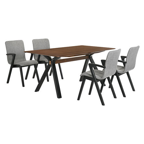 Laredo and Varde 5 Piece Black Rectangular Dining Set