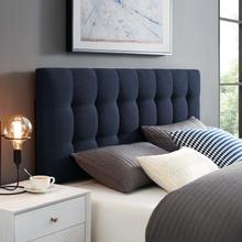 View Product - Lily Queen Upholstered Fabric Headboard in Navy