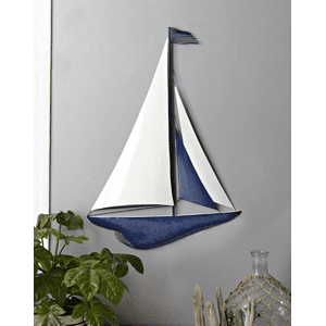 White & Blue Enamel Sailboat Wall Decor