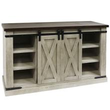 ANTIQUE WHITE TWO TONE  52in w X 33in ht X 18in d  Sliding Barn Door Pine Media Console with Remov