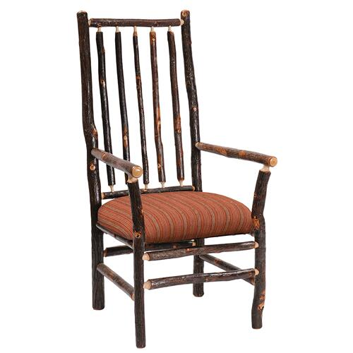 High-back Spoke Arm Chair - Natural Hickory - Customer Fabric