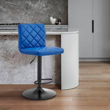 Duval Adjustable Blue Faux Leather Swivel Bar Stool