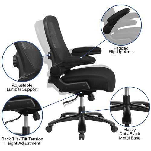 Gallery - Big & Tall Office Chair  Black Mesh Executive Swivel Office Chair with Lumbar and Back Support and Wheels