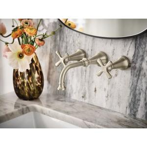 Colinet brushed nickel two-handle wall mount bathroom faucet