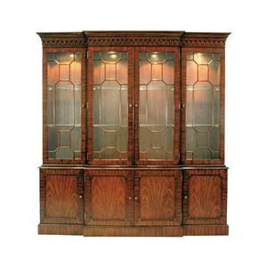 Maitland-Smith - MAHOGANY BREAKFRONT LIGHTED CH INA CABINET, GLASS SHELVES LIG HT ANTIQUE BRASS MOUNTS