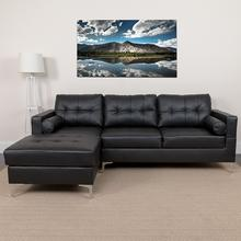 Riverside Upholstered Tufted Back Sectional with Left Side Facing Chaise and Bolster Pillows in Black LeatherSoft