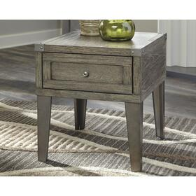 Chazney Rectangular End Table Rustic Brown