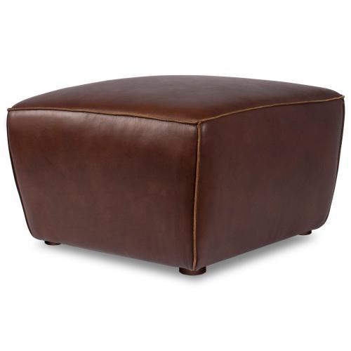 Milan Leather Ottoman - Brown