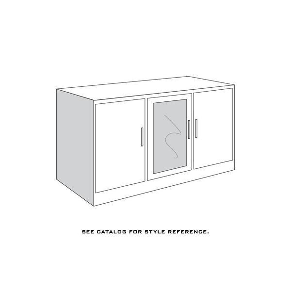 """Loft Base Unit, 3-Door TV Console, Loft Base Unit, 48""""w, 3-Door TV Console, 2-Adjustable Shelves each Door, Antique Glass"""