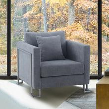 See Details - Heritage Gray Fabric Upholstered Accent Chair with Brushed Stainless Steel Legs