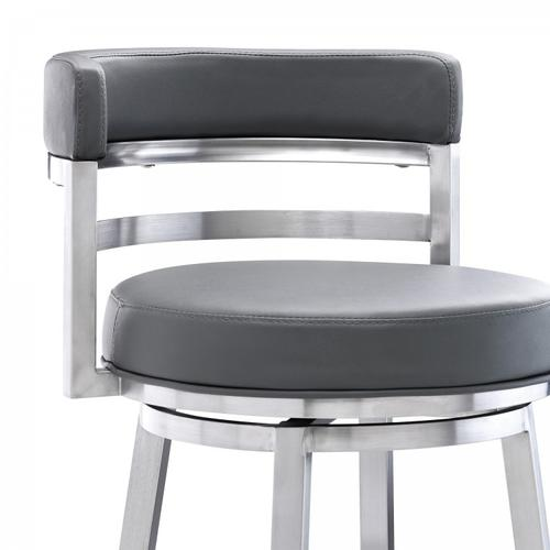 "Madrid Contemporary 30"" Bar Height Barstool in Brushed Stainless Steel Finish and Grey Faux Leather"