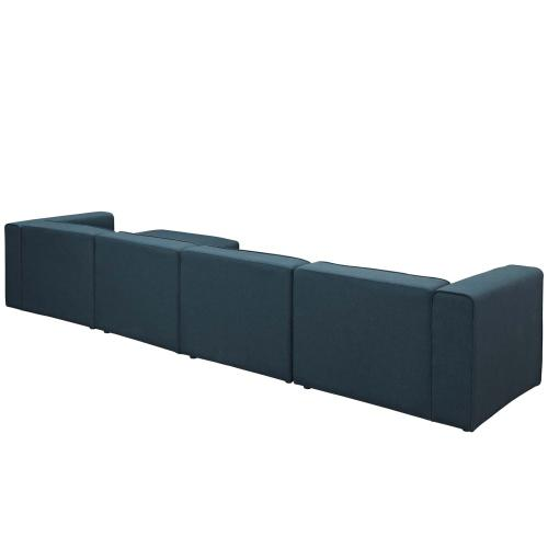 Mingle 5 Piece Upholstered Fabric Sectional Sofa Set in Blue