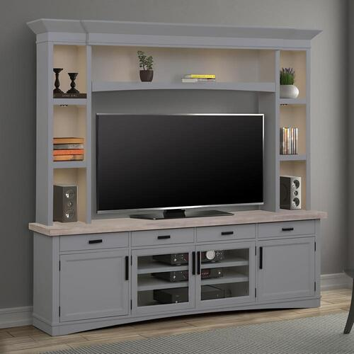 AMERICANA MODERN - DOVE 92 in. TV Console with Hutch and LED Lights