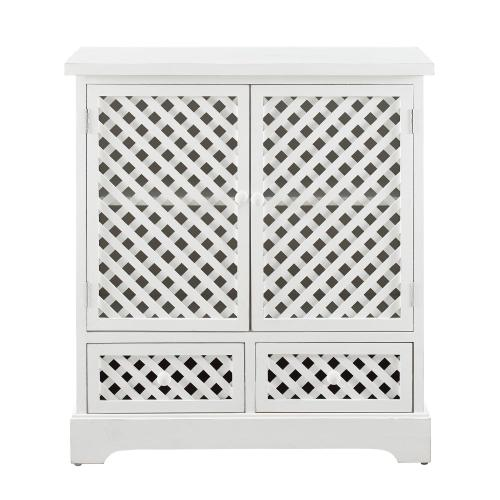 2-door and 2-drawer Cabinet, Distressed White