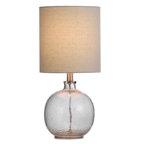 Style Craft - Mini Spanish Glass Ball Lamp in Smoke Finish White Drum Fabric Shade