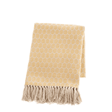 See Details - Ochre & Natural Honeycomb Woven Throw