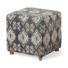 "See Details - Pallu 18.75""H Dhurrie Cotton Cover w/Four Wooden Legs Ottoman"
