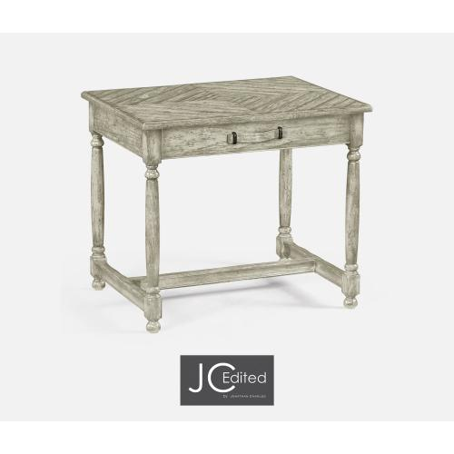 Rustic Grey Parquet Side Table with Contrast Inlay