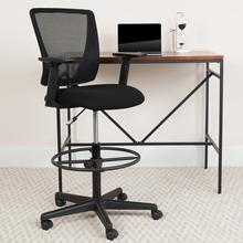 View Product - Ergonomic Mid-Back Mesh Drafting Chair with Black Fabric Seat, Adjustable Foot Ring and Adjustable Arms