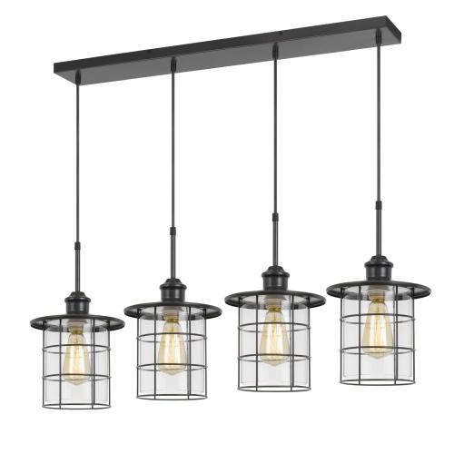60W x 4 Silverton metal/glass pendant fixture (Edison bulbs included)