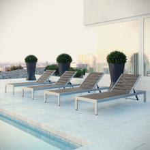 Shore Chaise Outdoor Patio Aluminum Set of 4 in Silver Gray