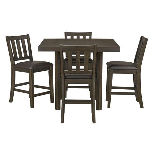 Standard Furniture - Arlo Counter Height Table with 4-Pack Counter Height Chairs, Chocolate Brown