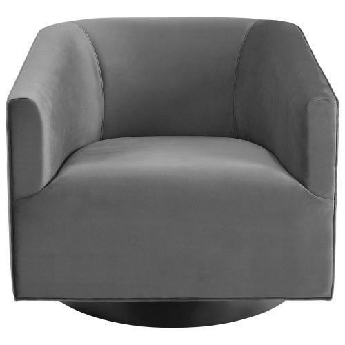 Twist Swivel Chair Performance Velvet Set of 2 in Gray