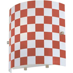 Wall Lamp, Red Check Glass Shade, E27 Type A15 60w