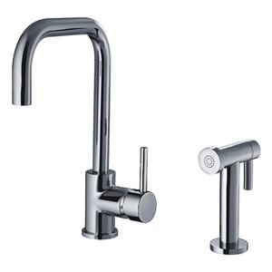 JEM Collection single-lever handle faucet with swivel spout and a solid brass side spray. Product Image