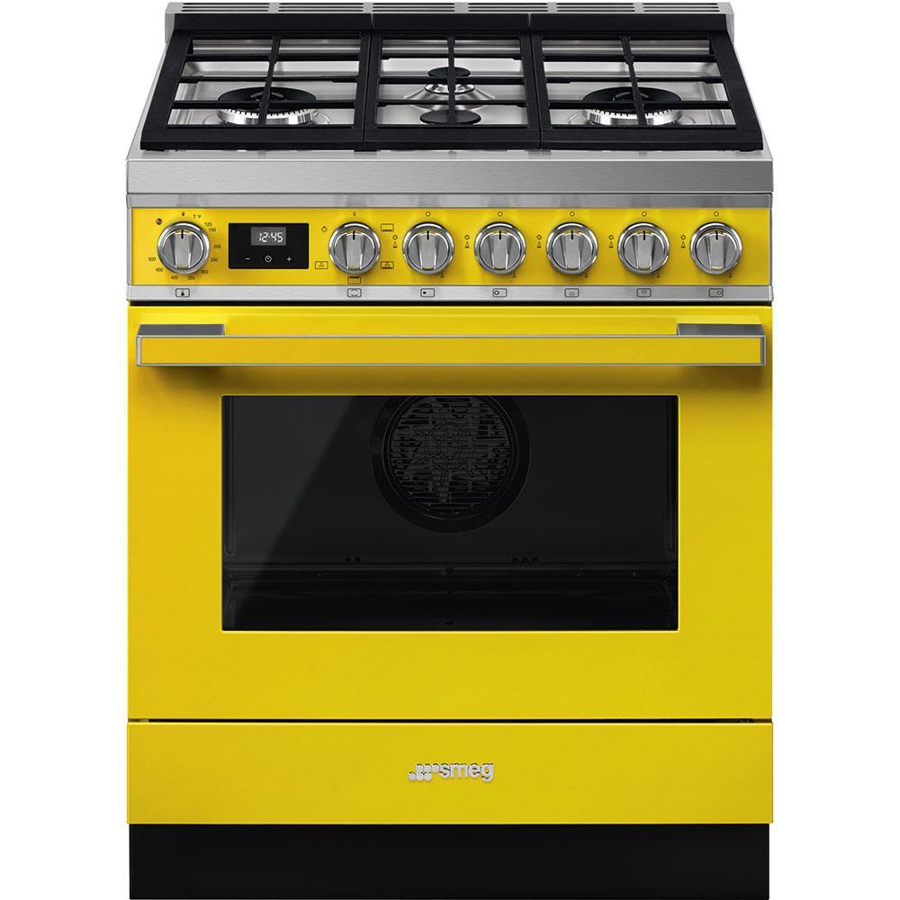 """SmegPortofino Pro-Style All-Gas Range, Yellow, 30"""" X 25"""""""