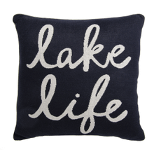 "Navy & White ""Lake Life"" Pillow"