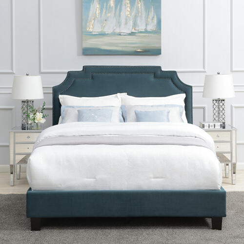 Nailhead Marquee Upholstered Full Bed in Jasper Blue